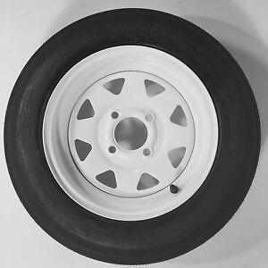 "Two Trailer Tires & Rims 4.80-12 480-12 4.80 X 12 12"" LRB 4Lug Wheel White Spoke"