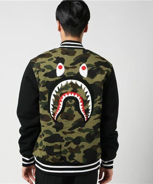 6fc98476fe84 Authentic a Bathing Ape Bape Shark Sweat Varsity Jacket Black XL RARE for  sale online