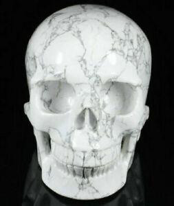 Huge-5-1-IN-Genuine-Howlite-Carved-Crystal-Skull-Realistic-Healing-1112