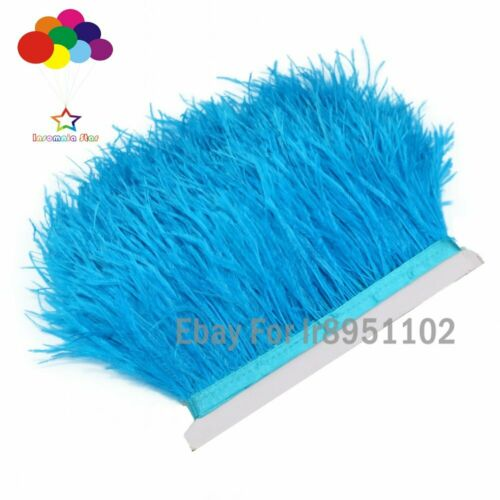 59 Colors 1//5//10 Ostrich Feather Trimming Fringe Tassels Plume with Satin Ribbon
