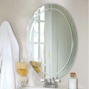 Image Is Loading Small Bathroom Vanity Mirror Oval Wall Frameless Beveled