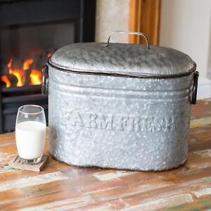Vintage-Farm-Fresh-Distressed-Metal-Bread-Storage-Bin-Kitchen-Food-Container