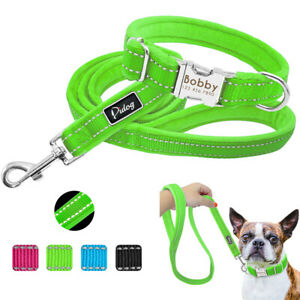 Nylon-Reflective-Personalised-Puppy-Small-Dog-Collar-and-Leads-Set-ID-Tag