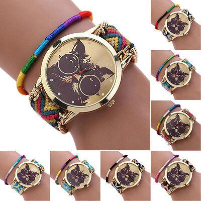 New Women Decent  Glasses Cat Dial Band Quartz Wrist Watch Elegant Rope Bracelet