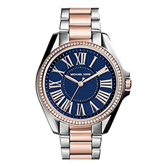 3cee2172d5f9 100% New Michael Kors MK6185 Kacie Two-Tone Blue Dial Bracelet Women s Watch
