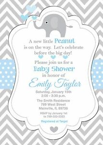 Elephant Baby Shower Invitation eBay