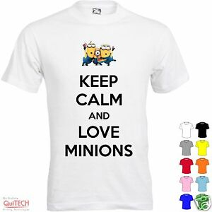 T-Shirt-Keep-Calm-and-Love-Minions-Uomo-Donna-Bianca-Colorata-Cattivissimo-me