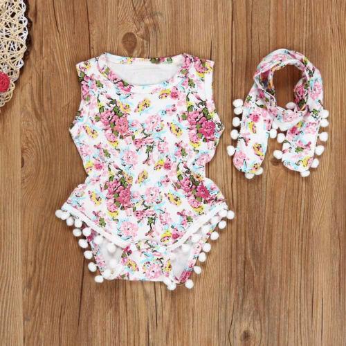 Headband Outfit UK Newborn Toddler Kid Baby Girl Floral Sun Romper Jumpsuit