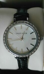 AUTHENTIC-ANNE-KLEIN-LADIES-039-WATCH-mother-of-pearl-dial-black-leather-strap