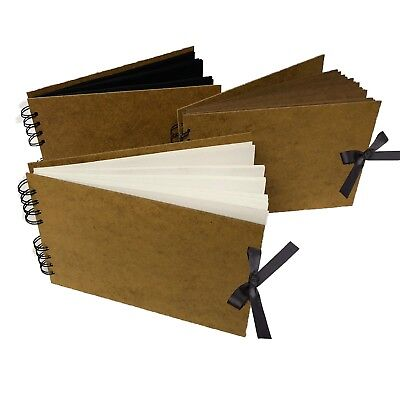 RIBBON sketch book pad scrapbook hardback wirobound white black kraft a5 a4 a3