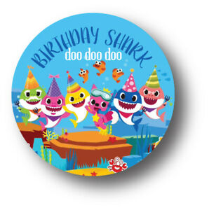 50 Baby Shark Party Stickers Labels For Goodie Bags /& Favors