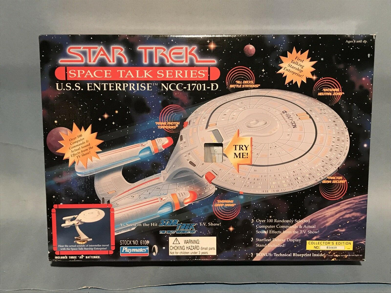 PLAYMATES STAR TREK THE NEXT GENERATION SPACE TALK SERIES ENTERPRISE NM