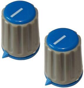 2 Boutons De Potentiomètre Pour Axe Moleté 6mm Ø15,3x18mm. Couleur: Gris/bleu L94asqo9-07174909-419411883