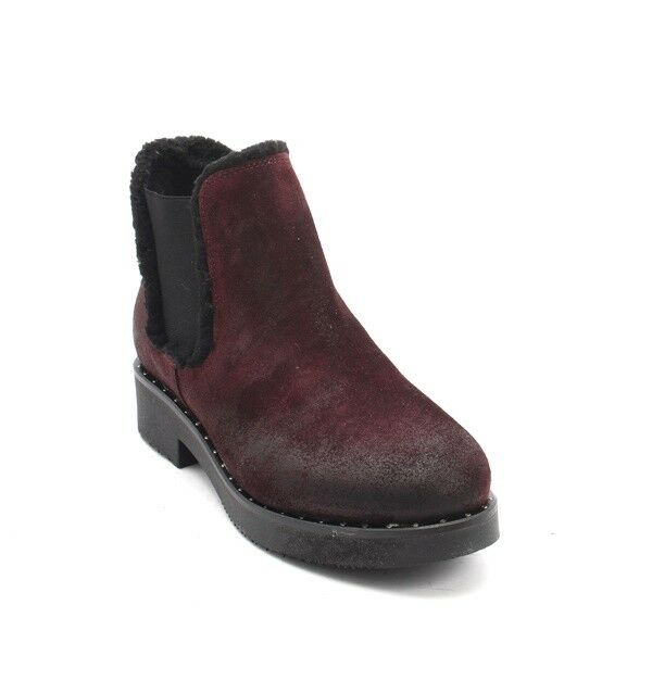 Mally 5894 Burgundy   Black Suede   Elastic Sheepskin Ankle Boots 36   US 6