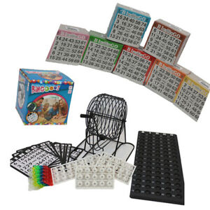 Bingo-Spiel-mit-Metall-Trommel-Bingomuehle-Zubehoer-und-3500-Bingoscheine-XXXL-Set