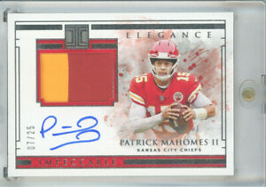 2019 panini impeccable PATRICK MAHOMES Elegance Jersey 2 color Patch - 07/25