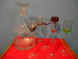 VINTAGE TOSCANY DECANTER W/ETCHED CLIPPER SHIP & 6 LONG STEM CORDIAL GLASSES