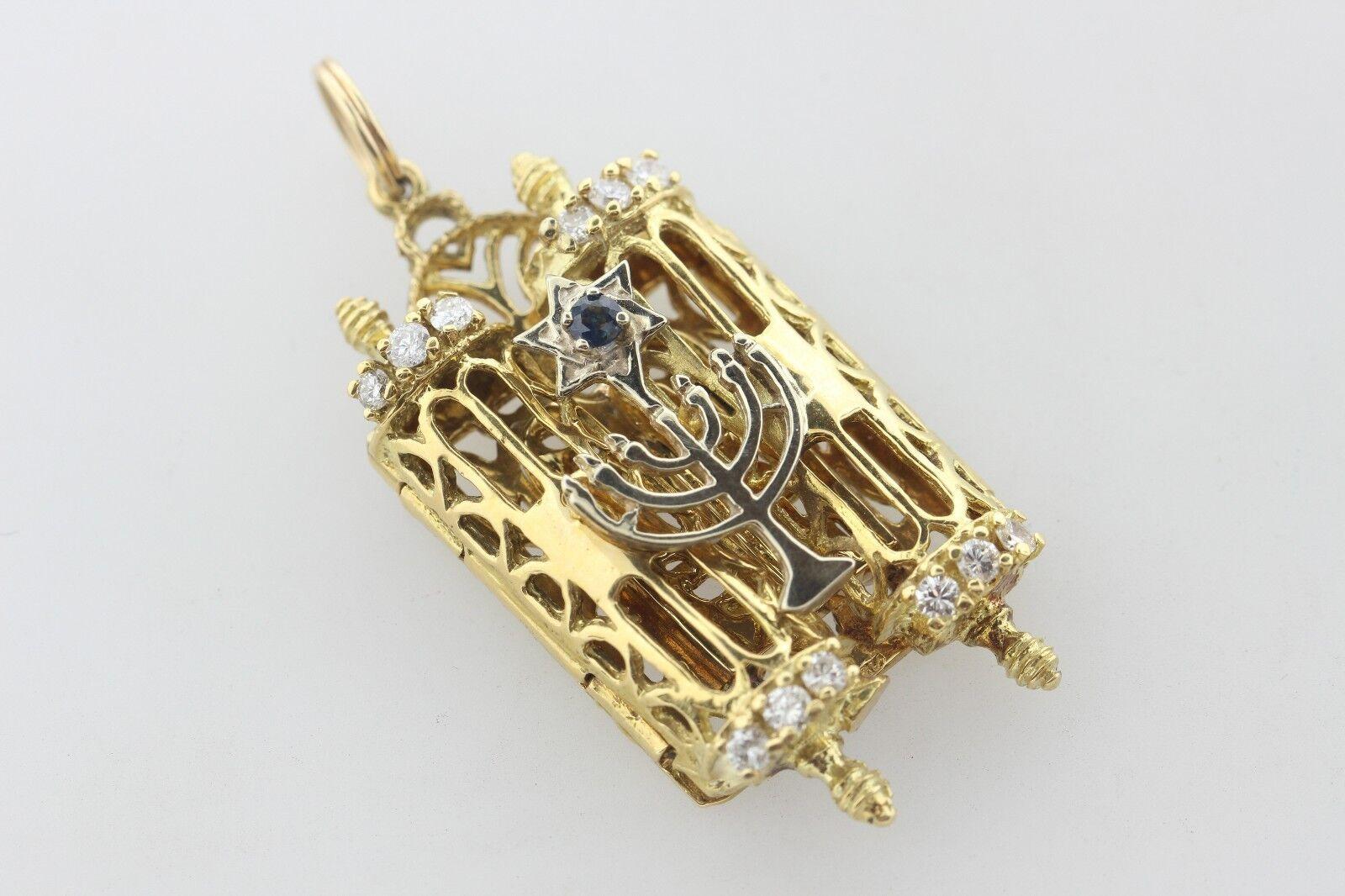18K gold 0.50ct Diamond & Sapphire Torah & Star of David & Menorah Pendant OPENS