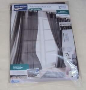 Vorhangschal-Set-mit-Schlaufen-135x265-cm-grau-2er-Pack-Raffhalter-Meradiso