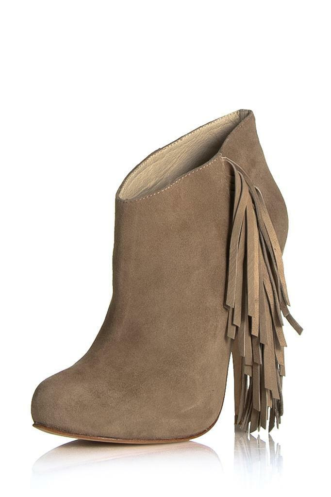 Plomo Andie Boot Beige Suede Leather Fringe Bootie Pull on ankle High Heels NEW