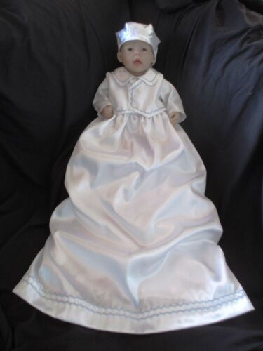 Baby Boys Satin Christening Gown Baptism Outfit W// Silk Shantung Vest   0-12M