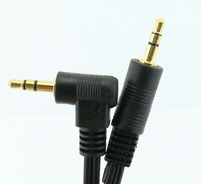 JACK AUDIO LEAD Stereo 3.5mm Right Angled to Straight 30cm 50cm 1m 2m 3m 5m 10m