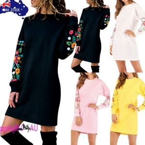 AU-Women-039-s-Autumn-Winter-Casual-Long-Sleeve-Floral-Embroidery-Sweatshirt-Dress