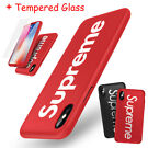 Supreme iPhone X 6s 7 8 Plus 360 Hard Case + Tempered Glass