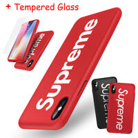 Supreme iPhone X 6s 7 8 Plus 360 Full Protection Hard Case Cover +Tempered Glass (Red / Black)