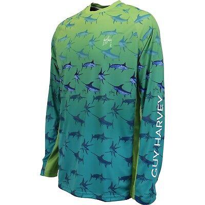 Pick Size..MSRP $45 Guy Harvey Hypto Long Sleeve Performance Fishing Shirt Blue