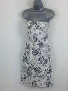 WOMENS-COAST-WHITE-WITH-BLACK-FLORAL-STRAPLESS-BODYCON-MID-LENGTH-DRESS-SIZE-12