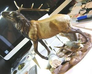 Vintage-Home-Interiors-1993-Masterpiece-Wilderness-Elk-Figurine-1392-Homco-Rare