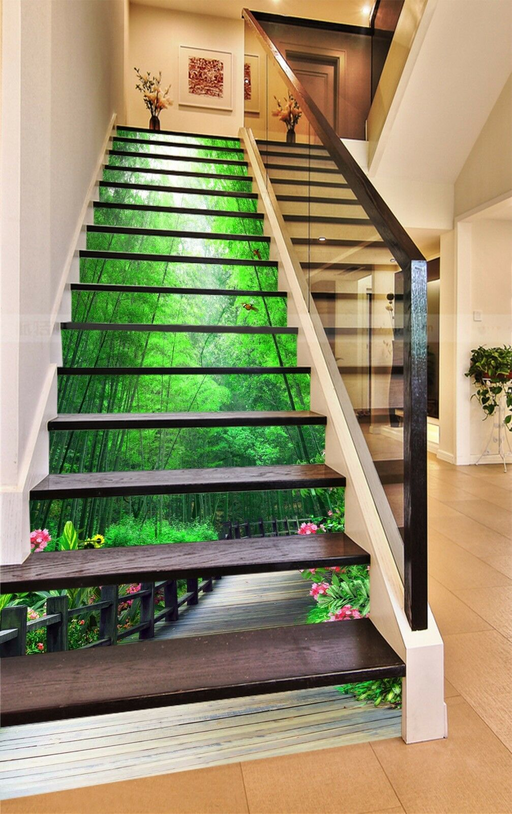 3D Bamboo Flower 76 Stair Risers Decoration Photo Mural Vinyl Decal Wallpaper AU