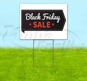 """18/""""x24/"""" Huge Black Friday Discount Sale Yard Sign with Stake Outdoor Coroplast"""
