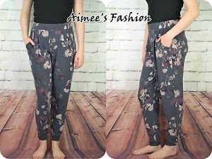 NEXT-TROUERS-GREY-BLUE-FLORAL-TAPERED-STRETCH-TAGGED-NEW-591