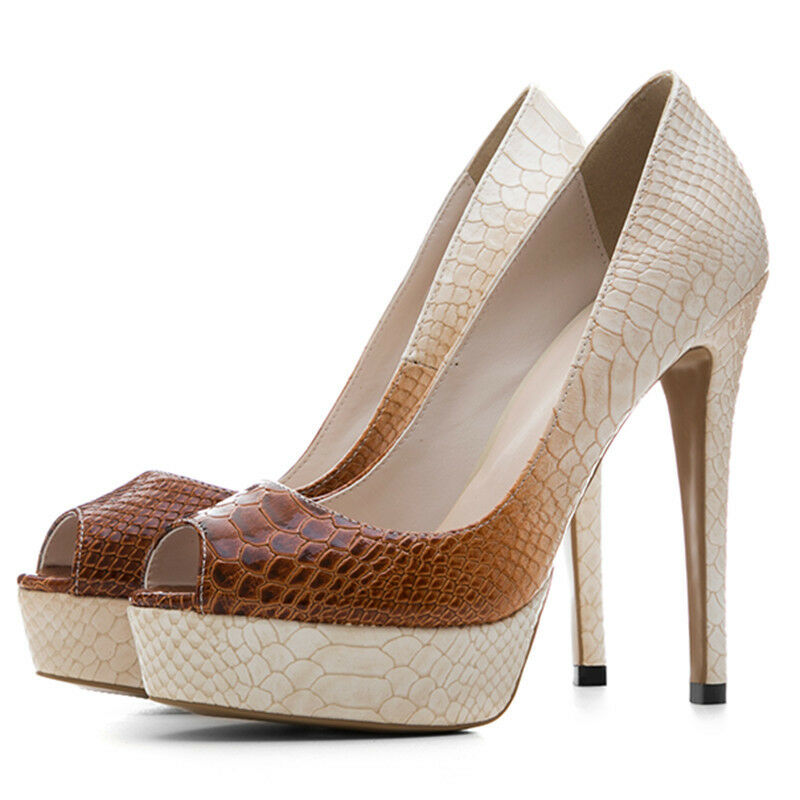 Donna Snake Pattern Platform High Heels Peep Toe PU Leather Party Clubwear Shoes