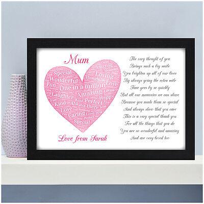 Mum Mummy Nan Personalised POEM Gifts Birthday Christmas Presents for Her Mam