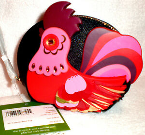 KATE SPADE NEW YORK LIMITED EDITION IMAGNATION ROOSTER LEATHER COIN PURSE~$128