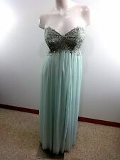 $130 SEQUIN HEARTS NORDSTROM JUNIORS 9 AQUA STRAPLESS JEWELED BODICE FORMAL GOWN