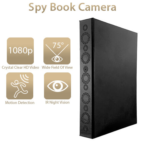 Office Home Security Night Vision Motion Activated Hidden Spy Book Camera 1080P