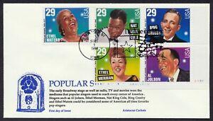 #2849-2853 29c Popular Cantantes, Aristocrat FDC Cualquier 4=
