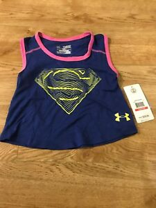 Under Armour Superman Girls Youth X Small Loose Tank Top Dc Comics