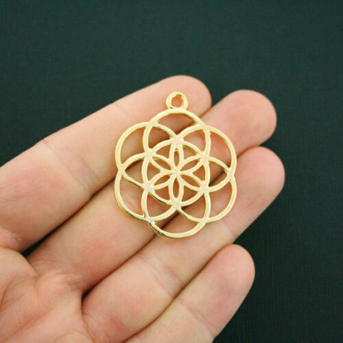 GC786 BULK 10 Seed of Life Pendant Charms Antique Gold Tone