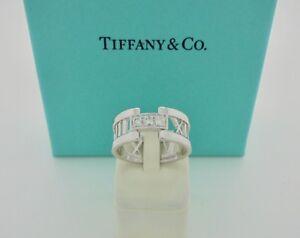 d2ab834ea Authentic Tiffany & Co. Atlas Open Diamond 18k White Gold Band Ring ...