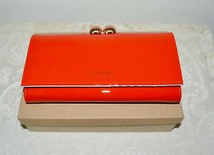 a62f6203b NWT  150 TED BAKER Bobble Lock RED Patent Leather Matinee Wallet ...