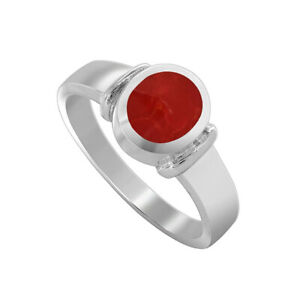 925-Sterling-Silver-Coral-Oval-Solitaire-Ring-Size-4-5