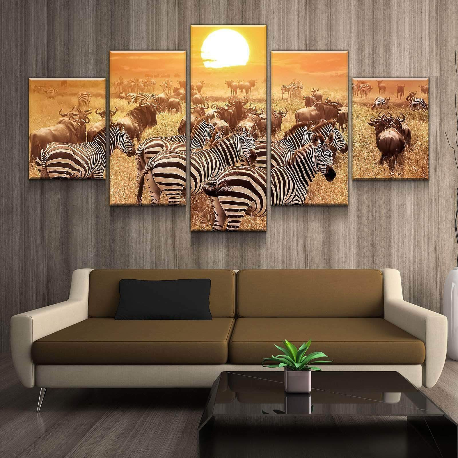 Zebra Sunset Buffalo 5 panel canvas Wall Art Home Decor Poster Print