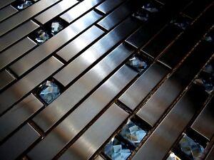 Nero diamante mosaico in vetro acciaio inox piastrelle metallo mm