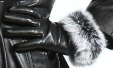 ladies black lambskin leather gloves genuine fur trim premium