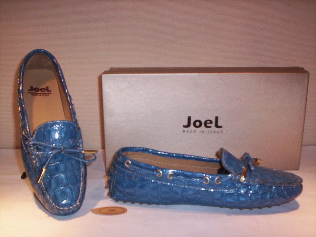 Schuhe niedrig Mokassins Joel Damenschuhe Frauen casual Leder blau neu 35 36